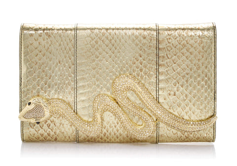 Serpent Snakeskin Clutch Gold