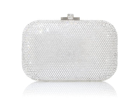 Slide Lock Silver Clutch