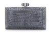Crocodile Grey Faceted Clutch