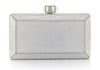 Crocodile White Faceted Clutch