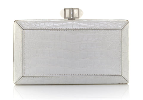 Crocodile White Clutch