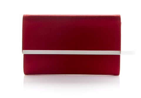 Quinn Satin Clutch Red