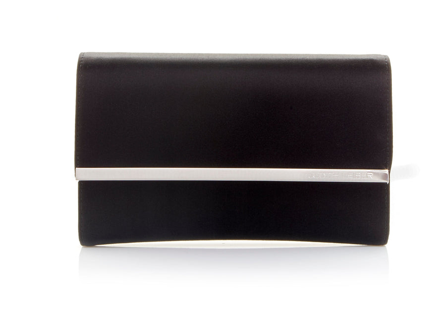 Quinn Satin Clutch Black