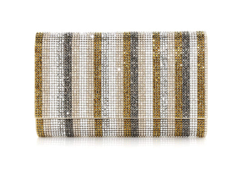 Fizzoni Metallic Gold Stripe Crystal Clutch