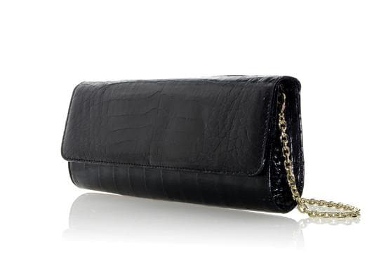 Kate Black Crocodile Clutch