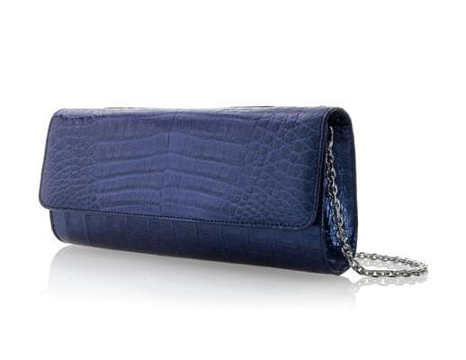 Kate Cobalt Crocodile Clutch