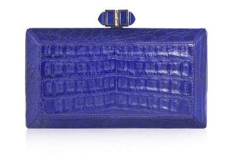 Crocodile Blue Clutch