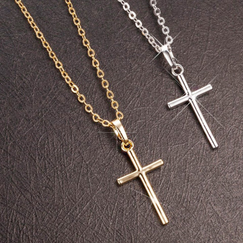 10K GOLD & SILVER SIMPLE CRUCIFIX / CHAIN