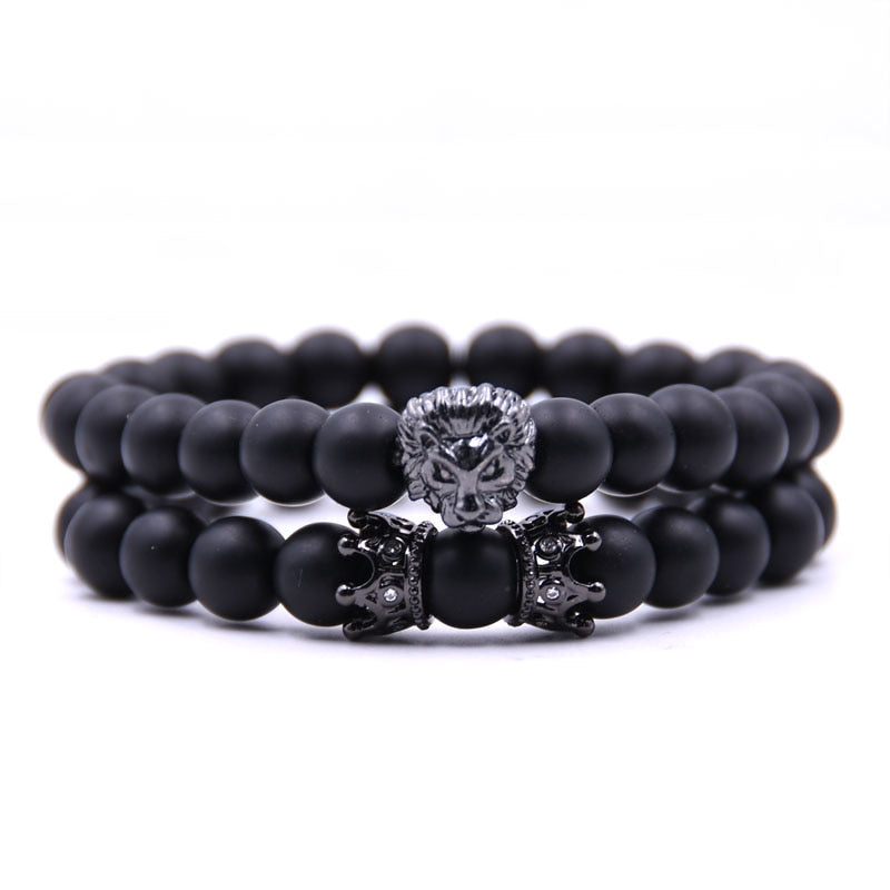 2 Piece black stone lion bracelet