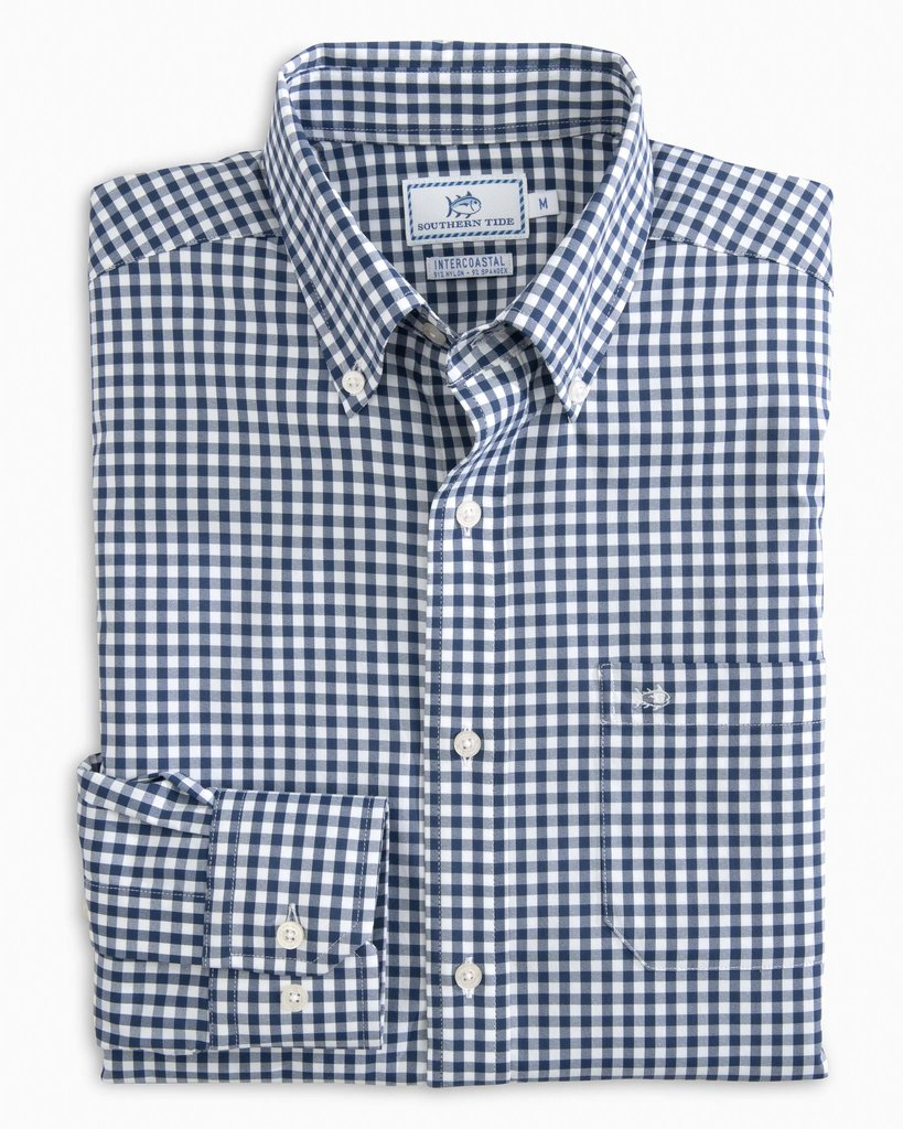6ef0319f577 Southern Tide Men's LS Gingham Intercoastal Sport Shirt/Yacht Blue