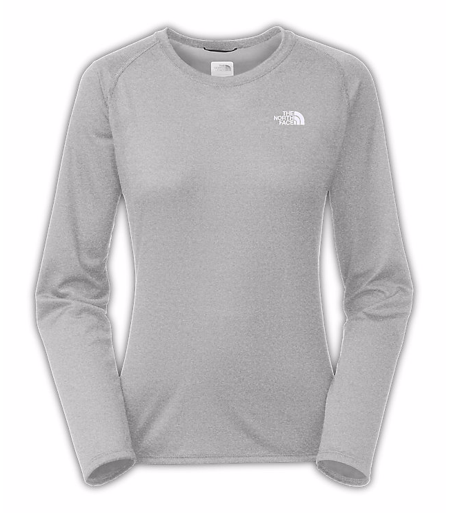 The North Face Womens Reaxion Amp L S Tee Heather Grey 0bae8ece2