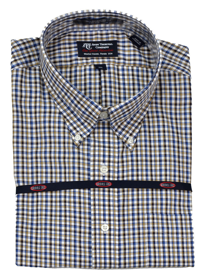 Overton men 39 s long sleeve wrinkle free button down sport for Wrinkle free button down shirts