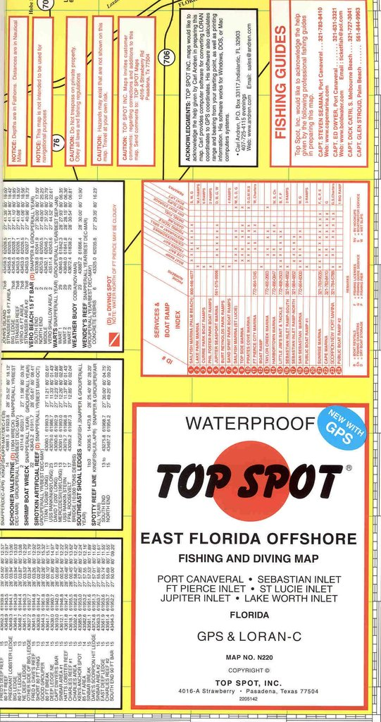 Map Of East Florida.Top Spot East Florida Offshore Fishing And Diving Map Andy