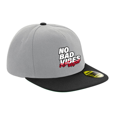 No Bad Vibes White Text Flat Peak Snapback Cap