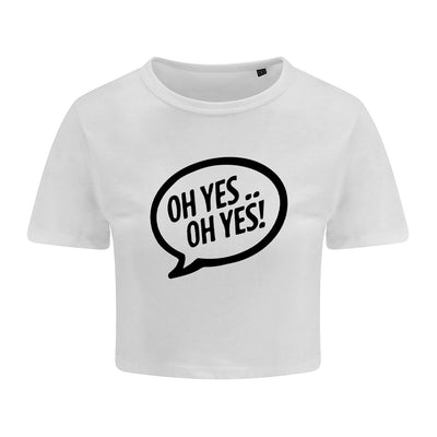 Oh Yes Oh Yes Black Text Girlie Cropped T-Shirt-Carl Cox Online Store