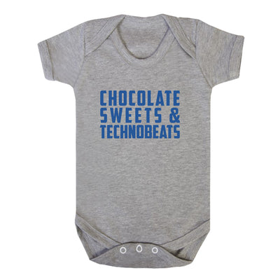 Chocolate Sweets And Technobeats Blue Text Short Sleeve Babygrow-Carl Cox Online Store