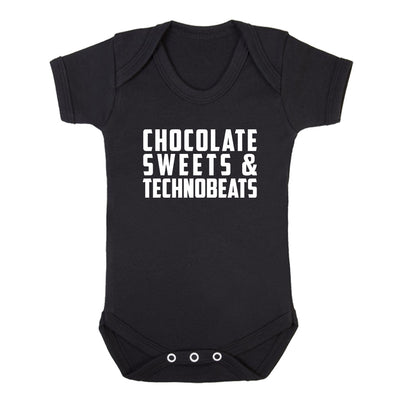 Chocolate Sweets And Technobeats White Text Short Sleeve Babygrow-Carl Cox Online Store