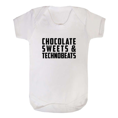 Chocolate Sweets And Technobeats Black Text Short Sleeve Babygrow-Carl Cox Online Store