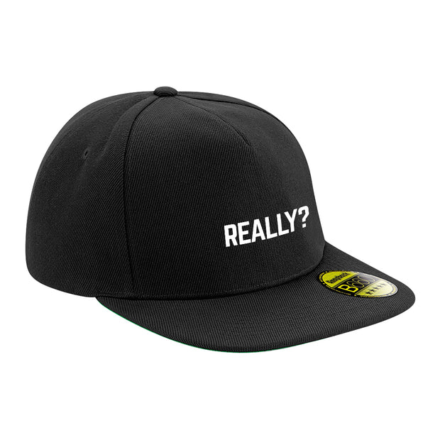 Really? White Text Flat Peak Snapback Cap-Carl Cox Online Store