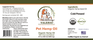 Valerio Pet Hemp Oil, 4 fl oz (120 ml) 1200 mgs - USDA CERTIFIED ORGANIC