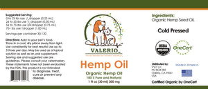 Valerio Pet Hemp Oil, 1 fl oz (30 ml) 300 mgs - USDA CERTIFIED ORGANIC
