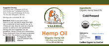 Load image into Gallery viewer, 2 (Pack) Valerio Pet Hemp Oil, 1 fl oz (30 ml) 300 mgs - USDA CERTIFIED ORGANIC