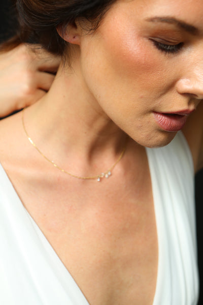 Floating White Moissanite Necklace