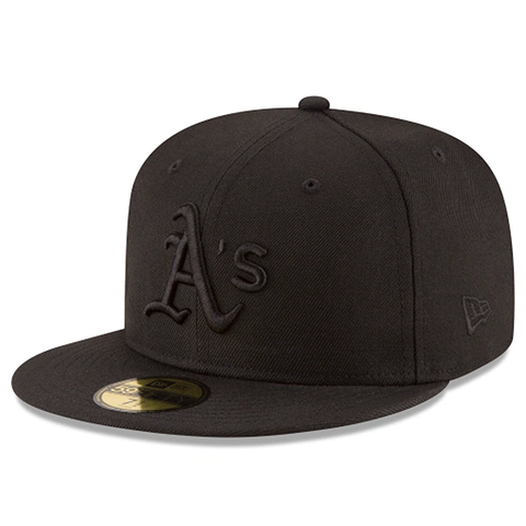 New Era 59FIFTY MLB Oakland Athletics Team Basic Fitted Hat Black On Black