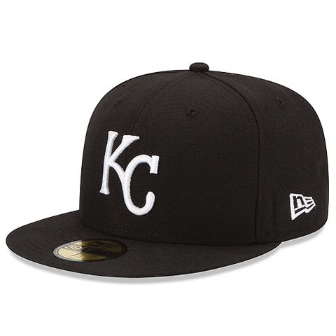 New Era 59FIFTY MLB Kansas City Royals Fitted Hat Black and White