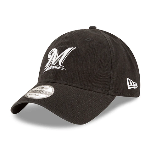 New Era MLB Milwaukee Brewers Black Core Classic Twill 9Twenty Adjustable Hat