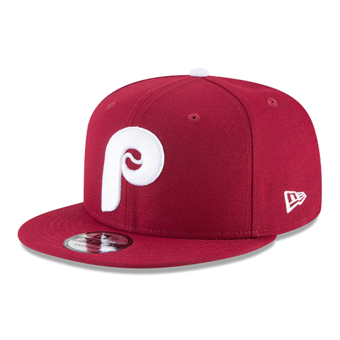 New Era 9FIFTY MLB Philadelphia Phillies Cooperstown Basic Adjustable Snapback Hat Burgundy