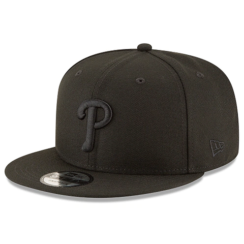 New Era 9FIFTY MLB Philadelphia Phillies Team Basic Adjustable Snapback Hat Black On Black