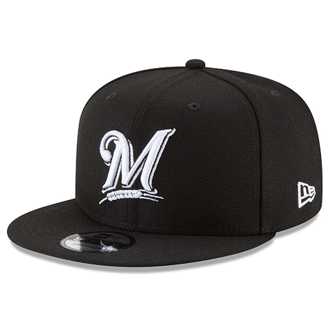 New Era 9FIFTY MLB Milwaukee Brewers Adjustable Snapback Hat Black/White