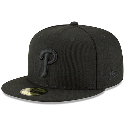 New Era 59FIFTY MLB Philadelphia Phillies Basic Fitted Hat Black On Black