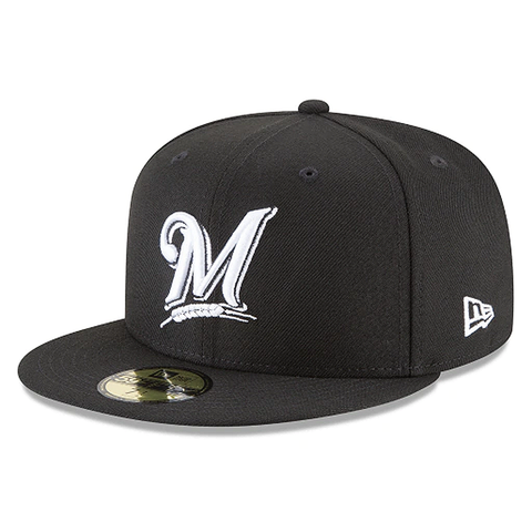 New Era 59FIFTY MLB Milwaukee Brewers Fitted Hat Black/White