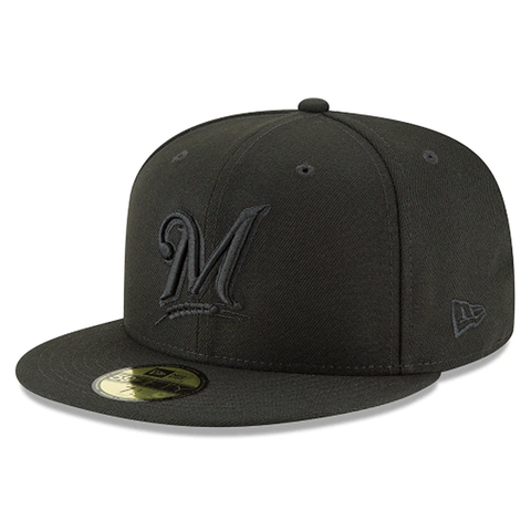 New Era 59FIFTY MLB Milwaukee Brewers Fitted Hat Black on Black