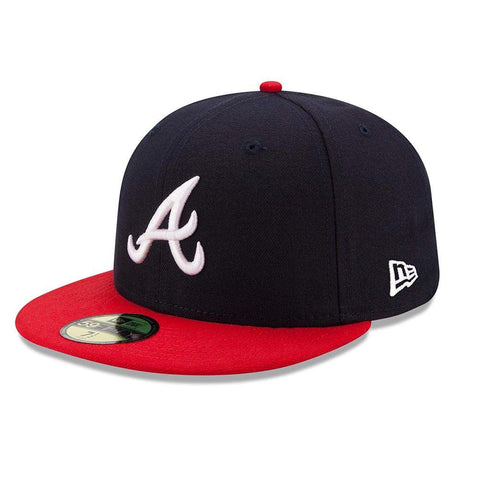 New Era MLB Atlanta Braves Home Authentic Collection On-Field 59FIFTY Fitted Hat Navy&Red