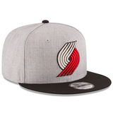 New Era 9FIFTY NBA Portland Trailblazers Team Basic Adjustable Snapback Hat Heather Grey 2 Tone