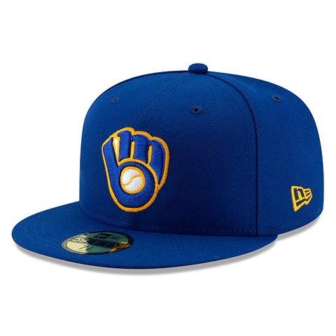 New Era 59FIFTY MLB Milwaukee Brewers Alt Authentic Collection On-Field Fitted Hat Royal Blue