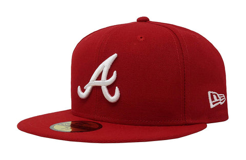 New Era MLB Atlanta Braves Basic 5FIFTY Fitted Hat Scarlet Red
