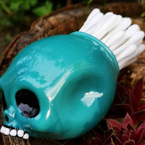 Heady Skull Glass Jar (Aqua) by Chris Bruneau x Kind Selections Collaboration