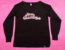 Ladies Open Crew Fleece Sweatshirt Black - Kind Selections Holographic Rose Gold Logo