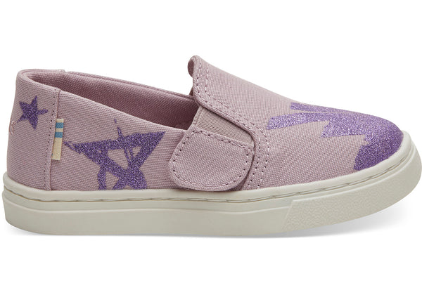 Burnished Lilac Glitter Star Canvas Tiny TOMS Luca Slip-Ons