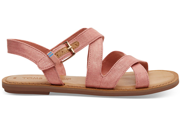 Coral Pink Shimmer Canvas Women's Sicily Sandals