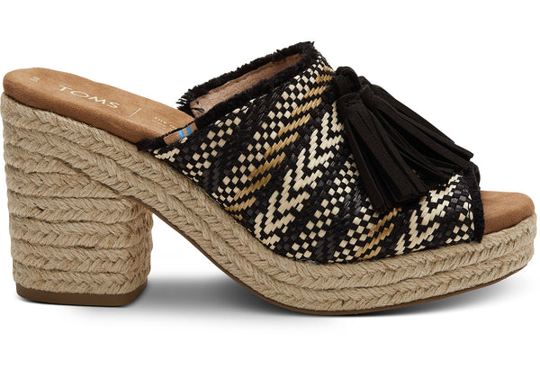 Black Geometric Woven with Tassel Women's Junie Wedged Sandals