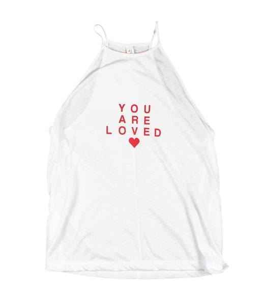 You Are Loved Red Letter Women's Flowy High Neck Top