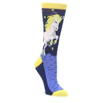 Navy Yellow Unicorn Women's Dress Socks
