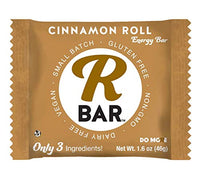 RBar Whole Food Cinnamon Roll Energy Bar - Dairy & Gluten Free Snacks, Vegan Protein Bar - 3 Healthy Ingredients (10 Pack)