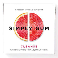 Simply Gum, Cleanse Chewing Gum, Vegan and Non GMO, 15 Pieces, Pack of 6