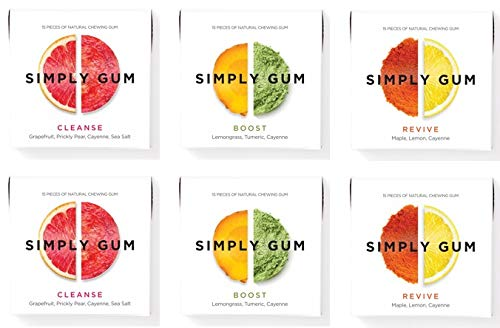 Simply Gum, Variety Pack Chewing Gum (Boost, Cleanse, Revive), Vegan, Non GMO, 15 Pieces, Pack of 6